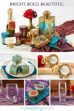 Bright and bold jewel tones combined with elephant, peacock, and intricate henna designs are exotic details we love about this beautiful collection. Perfect for an Indian wedding, bridal shower, mehndi party or sangeet, your guests will be raving about your event long after its over!