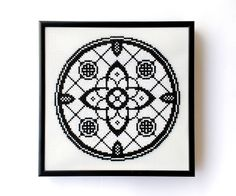 SALE 50% OFF Ready To Hang Wall Art Gothic Rose Window Cross Stitch Square Geometric Medieval Black and White Monochrome Custom Frame Modern by LakeviewNeedlework on Etsy