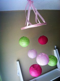 You pick COLORS-Pre-assembled 6 mini Paper Lanterns Mobile-