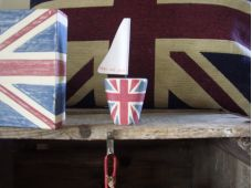 Shabby Chic Union Jack Little Wooden Sailing Boat By East Of India