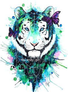 Afbeeldingsresultaat voor watercolor galaxy tiger
