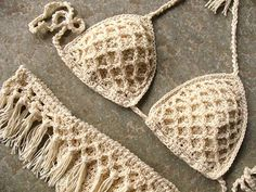 Fringe crochet bikini set Crochet bikini in cream Fringe
