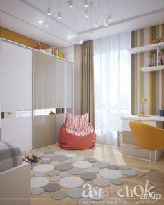 """Комфорт с теплотой в ЖК """"Отдых"""": интерьер, квартира, дом, современный, модернизм, детская комната, 30 - 50 м2 #interiordesign #apartment #house #modern #nursery #30_50m2 arXip.com"""