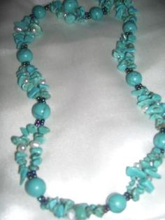 FABULOUS TURQUOISE BEADS AND PEARLS LONG NECKLACE!!! SOUTHWEST INSPIRED!!! FREE SHIPPING!!! $12