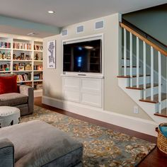 1000 images about stairs and railings on pinterest for Tv showcase designs under staircase