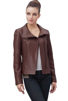 "Jessie G. Women's ""Johanna"" Funnel Neck Lambskin Leather Moto Jacket. Check out this great style for $139.99 on Luxury Lane. Click on the image above to get a coupon code for 10% off on your next order."