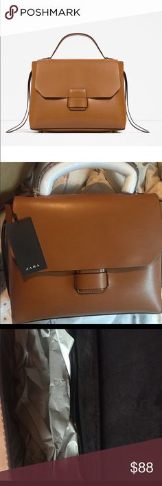 ZARA COGNAC CITY BAG Brand new with tags, cognac brown color, very spacious  and sturdy, smooth leather finish Zara Bags Satchels cd0bc0c8c8