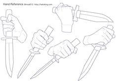 Knife Drawing, Hand Drawing Reference, Anime Poses Reference, Drawing Base, Anatomy Reference, Drawing Techniques, Drawing Tips, Main Manga, Poses Manga