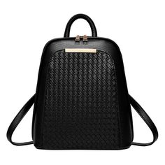 Women Leather Backpack Black Knitting Backpacks For Teenage Girls Silver High Quality PU Bag Fashion Rucksack mochila Outfit Accessories From Touchy Style. Black Leather Backpack, Pu Leather, Leather Backpacks, Leather Bags, Vegan Leather, Teenager Fashion Trends, Leather School Bag, Shoulder Bags For School, Laptop Backpack