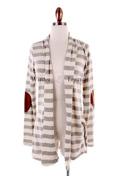 Winter Lennon - Madison Striped Cardigan with elbow patches $42