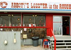"Picnic-style lobster by the shore, or ""in the rough."" at Abbott's Lobster in the Rough, Noank, CT"