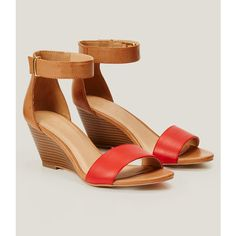LOFT Wedge Sandals (97 CAD) ❤ liked on Polyvore featuring shoes, sandals, marsala red, red mid heel shoes, wedge shoes, red shoes, mod shoes and red wedge sandals