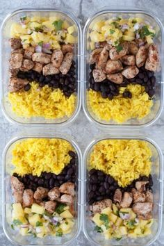 Jerk Chicken Meal Prep Bowls are colorful flavorful and great for meal prep or an easy dinner. Jerk chicken pineapple salsa rice and beans. Best Meal Prep, Lunch Meal Prep, Meal Prep Bowls, Healthy Meal Prep, Healthy Drinks, Healthy Snacks, Healthy Eating, Healthy Recipes, Keto Recipes