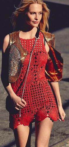 Free People Red crochet Tunic