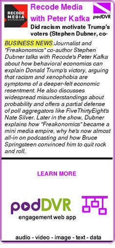 #BUSINESS #PODCAST  Recode Media with Peter Kafka    Did racism motivate Trump's voters? (Stephen Dubner, co-author, 'Freakonomics')    READ:  https://podDVR.COM/?c=6d2edd3f-23b7-c640-7a7b-896d76643839