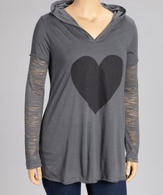 Love this Charcoal Heart Hoodie - Plus by TROO on #zulily! #zulilyfinds