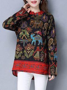 bc91125cb57c59 Gracila Ethnic Printed Women Vintage Blouses #womensfashionvintageblouses  Ralph Lauren Womens Clothing, Cheap Blouses,