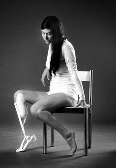 "A prototype for Israeli designer Aviya Serfaty's line of prosthetic legs for women called ""Outfeet"" on display at the Design Museum of Helsinki."