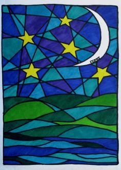 "Art Prints Limited Edition Romantic Mosaic Moon 5X7"" Digital Prints on Etsy, $10.00"
