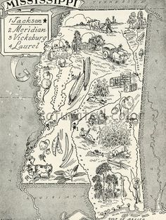 Mississippi vintage illustrated map @Mary Beth Burrell