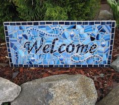 Items similar to Blue Mosaic Welcome Sign on Etsy Blue Mosaic, Mosaic Art, Mosaic Glass, Mosaic Tiles, Glass Art, Stained Glass, Easy Mosaic, Tiling, Tile Crafts