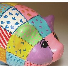 Items similar to Handmade Ceramics / Clay Patchwork Piggy Bank on Etsy Pebble Painting, Pottery Painting, Ceramic Painting, Painted Pottery, Piglet, Pig Bank, Penny Bank, Money Box, Little Pigs