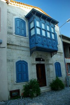"streets of Alacati, Cesme ""That blue windowed balcony! I imagine a writing office inside... lots of books, plants..."" https://www.facebook.com/CrescentDragonwagonFearlessly"