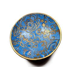 Custom Blue Ring Dish polymer clay Bowl Jewelry by BeadazzleMe #weddings #ring holder #gift