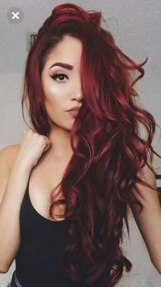 Red Balayage Hair Colors: 19 Hottest Examples for 2019 - Style My Hairs Ombre Hair Color, Hair Color Balayage, Cool Hair Color, Hair Colors, Dark Red Haircolor, Dark Red Balayage, Deep Red Hair Color, Balayage Hairstyle, Red Ombre