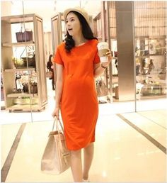 New 2014 Korean Trend Maternity Summer Fashion Short Sleeve Maternity Dress Loose Cotton Dres For Pregnant Women No20 $23.69