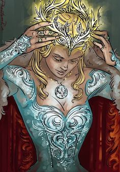 Queen Aelin by Phantomrin (Kelly/)Helene(/Seraphina) takes of crown to reveal whom she really is to someone