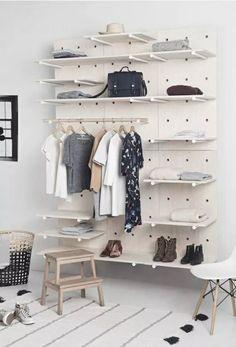 pegboard shelves – Home Living Creative Source Wooden Wardrobe, Bedroom Wardrobe, Large Shelves, Wooden Shelves, Diy Interior, Pallet Furniture, Home Furniture, Cheap Wardrobes, Bedroom Corner