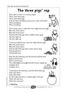 Three Little Pigs Rap. Could have partners read the long lines and then everyone read the chorus parts:-) Traditional Tales, Traditional Stories, Preschool Songs, Music Activities, Fairy Tale Activities, Math Songs, Teaching Music, Teaching Reading, Learning