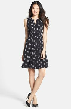 reallllly like this dress, specifically in all black... Halogen® Pleated Fit & Flare Dress available at #Nordstrom