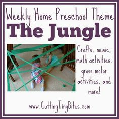 Jungle or Rainforest Theme Weekly Home Preschool. Gross motor activities, crafts, picture books, and more! Perfect amount of EASY activities for one week of home preschool. Jungle Theme Activities, Preschool Jungle, Jungle Crafts, Preschool At Home, Preschool Crafts, Math Crafts, Music Crafts, Preschool Classroom, Rainforest Crafts