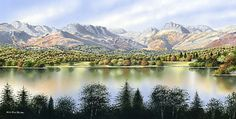 Crinkle Crags, Bowfell and the Langdale Pikes from the Low Wood side of Windermere, feature in this panoramic addition to the Ken Burdon Collection of Lake District paintings. Windermere, Mountaineering, Lake District, Places To Visit, Mountains, Painting, Travel, Landscapes, Google Search