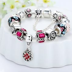 BAMOER Lucky Charm Snake Chain Bracelet Vintage European Style Beaded Bracelet for Women Girls Party Bracelet -- Click image for more details. (This is an affiliate link) #PearlSet
