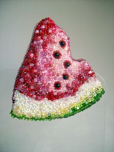 "Helen Kolomoets. Brooch and pendant ""Watermelon"". Beadwork Елена Коломоец. Брошь (кулон) ""Арбуз"". Вышивка бисером."