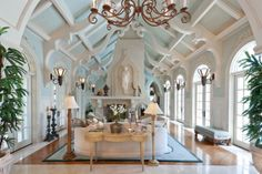 Dramatic Traditional Living Room- CEILINGS!!! - Harrell & Co Architects - Naples, Florida