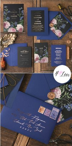 Gold foil printed wedding invitations in Black & Navy with vintage flowers. Fully assembled and customized with your details #wedding