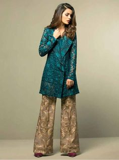* Complete the look with these ivory and black embroidered flared pants. (Sold separately) *Actual colors of the outfit may vary from the colors being displayed on your device. Pakistani Fancy Dresses, Pakistani Party Wear, Pakistani Couture, Pakistani Dress Design, Pakistani Outfits, Pakistani Bridal, Shadi Dresses, Eid Dresses, Trendy Dresses