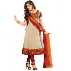 Superb Beige Net Designer #Anarkali Kameez #SalwarKameez #Dress #WomenClothing #Fashion