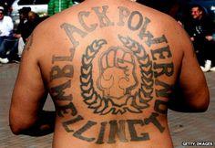 Mongrel Mob Black Power New Zealand Bike Gang, Mongrel, Biker Clubs, Brothers In Arms, Red Vs Blue, Back Tattoos, Black Power, Mafia, Tribal Tattoos