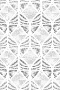 Papel mural blanco con diseños en negro y grises Indian Patterns, Textile Patterns, Print Patterns, Geometry Pattern, Linear Pattern, Art Deco Pattern, Pattern Design, Motifs Organiques, Arabesque Pattern