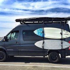 Surfs up! @goneprobro is locked and loaded with the @aluminess's side surf board rack on his Sprinter Camper Van. #sprintercampervans Regram via @sprintercampervans