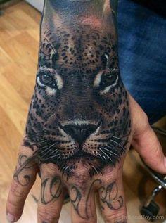 Black Leopard Tattoo black leopard face tattoo on hand Hand Tattoos, Cat Face Tattoos, Big Cat Tattoo, Cool Tattoos, Tatoos, Leopard Tattoos, Black Tattoos, Animal Tattoos, Jaguar Tattoo