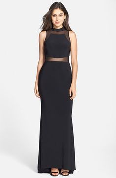 18dbe3574ff9 Betsy  amp  Adam Sheer Inset Mock Neck Trumpet Gown available at  Nordstrom  Trumpet Gown