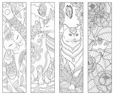 Cat themed packaging, stationery + editorial illustrations and pattern design Cat Coloring Page, Free Adult Coloring Pages, Colouring Pages, Coloring Sheets, Coloring Books, Bookmarks Kids, Printable Bookmarks, Printables, Craft Images