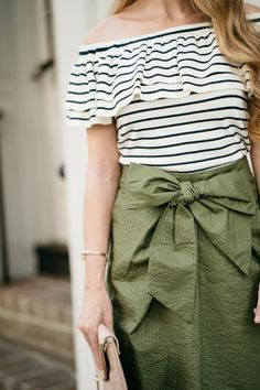 J.Crew Green Bow Skirt / Striped Off Shoulder Top / Charleston, SC / Summer Style / Fashion / Outfit Ideas