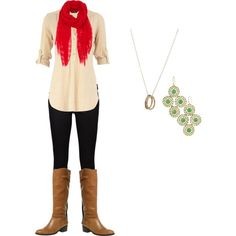 Christmas outfit - with green shirt + plaid scarf for xmas gift exchange